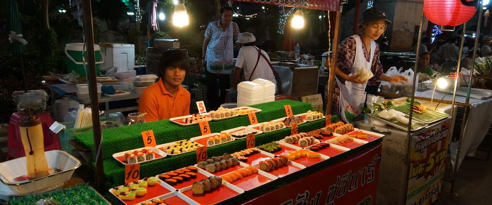 Walking street with fresh Japanese food