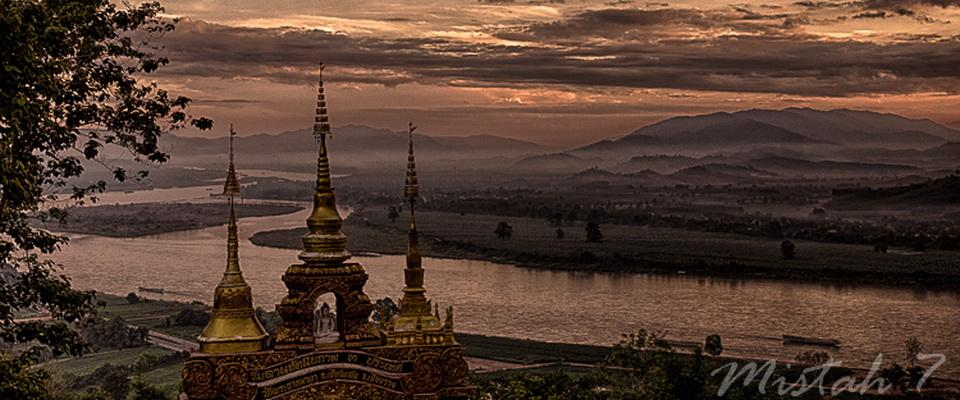 View over Mae Nam Kong (Mekong River) from Phra That Phangao Chiang Saen