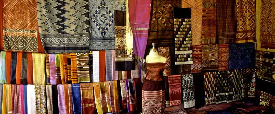 Fabrics for sale in a shop close to Morning Market